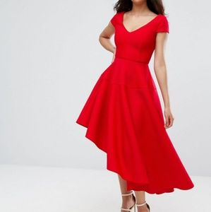 Red asymetrical dress